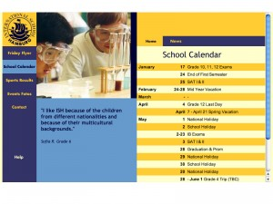 Hamburg International School, calendar section (all school dates)