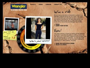 We added a feature which became popular in 2001: Hot or not – with pictures, uploaded by users wearing a wrangler jeans.